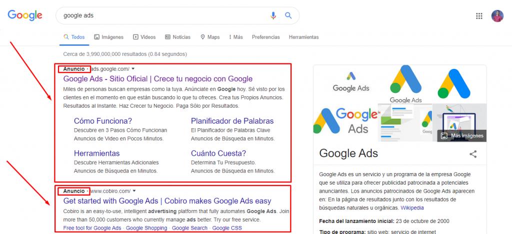 anuncios de busqueda en google ads